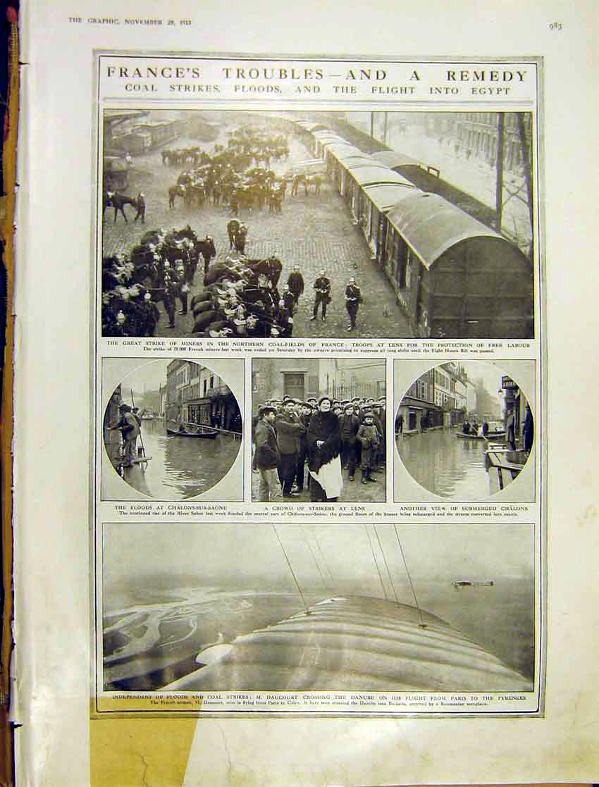 [Print France Coal Strikes Floods Egypt Lens Chalons 1913 83Ddd1 Old Original]