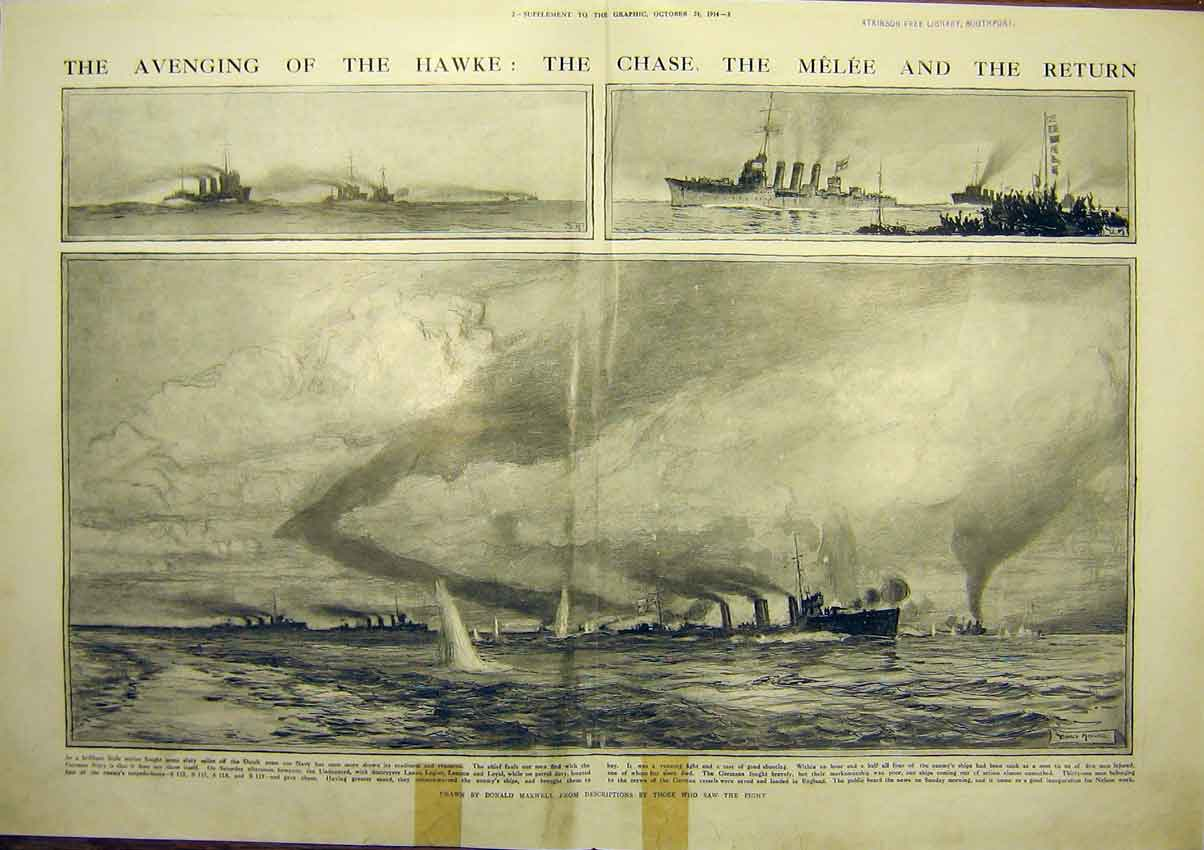 [Print Ww1 Wreaths Hms Warship Hawke Melee Naval War 1914 04Tddd1 Old Original]