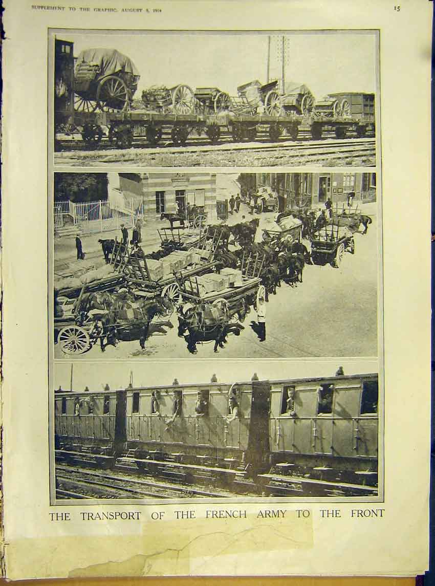 Print Ww1 Transport French Army Front Train Horse 1914 15Ddd1 Old Original
