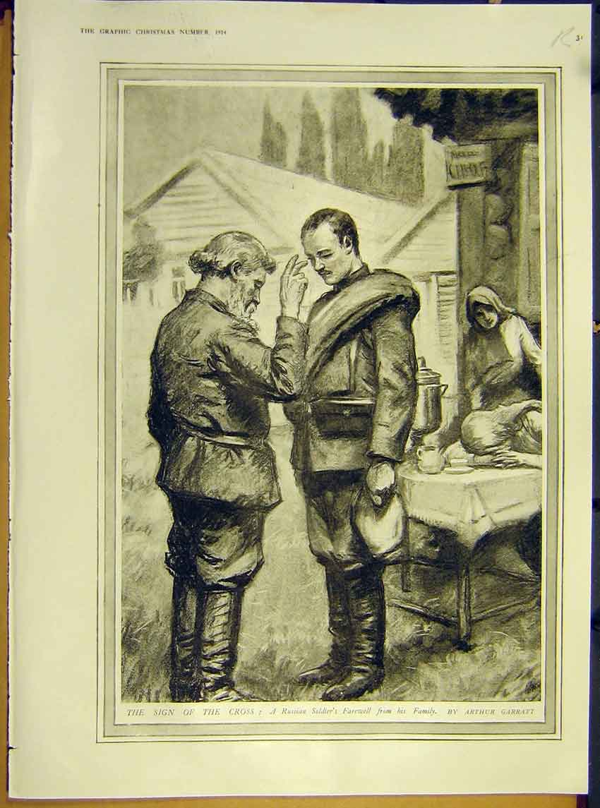 Print Ww1 Russian Soldier Farewell Cross Thunderstorm 1914 31Rddd1 Old Original