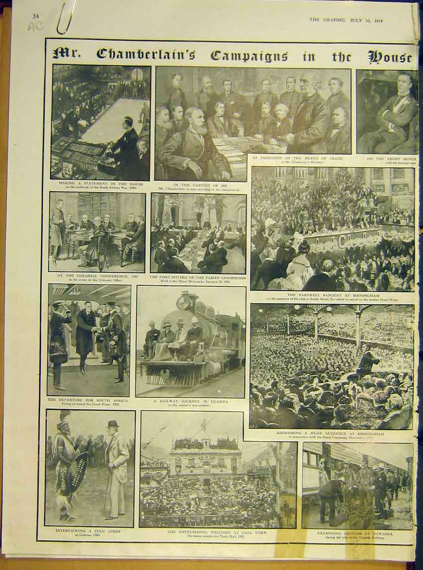 Print Ww1 Chamberlain Commons Campaign Ireland Africa 1914 54Addd1 Old Original