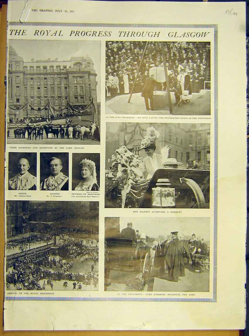 Print Ww1 Royal Visit Scotland Glasgow University 1914 65Addd1 Old Original