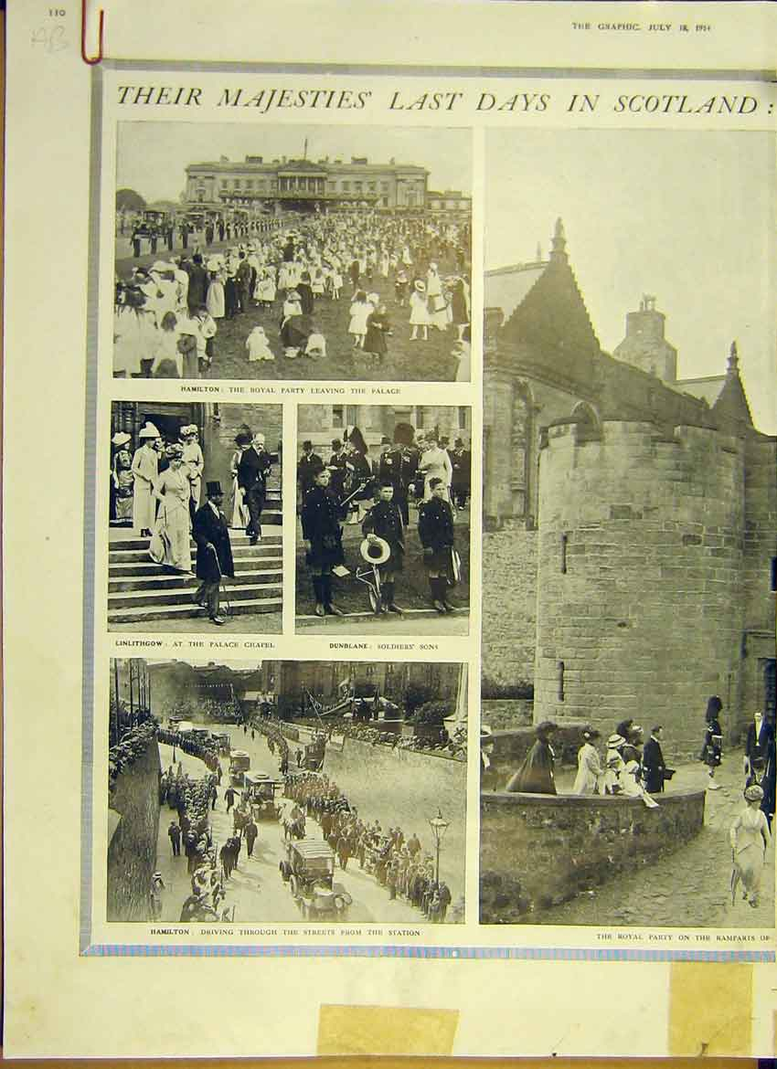 Print Ww1 Royal Visit Scotland Stirling Dundee Perth 1914 10Addd1 Old Original
