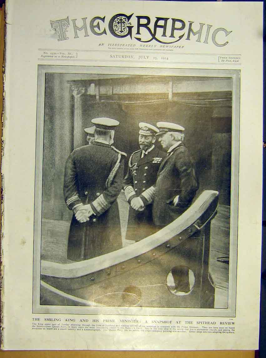 Print King Minister Spithead Review Ww1 Queen Mary Ship 1914 44Ddd1 Old Original