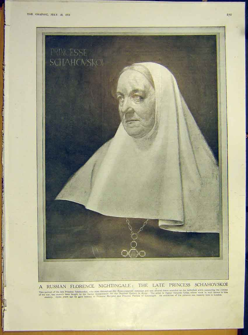 Print Portrait Russian Princess Schahovskoi Holy Nurse 1914 71Ddd1 Old Original