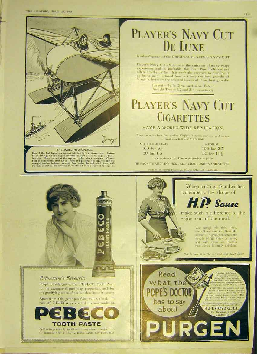 Print Advert Players H P Sauce Pebeco Purgen 1914 79Ddd1 Old Original