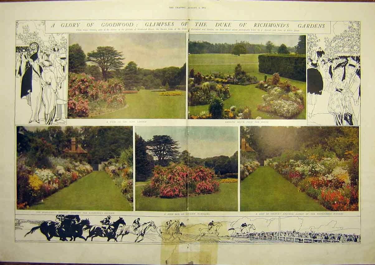 Print Goodwood House Gardens Sussex Horticulture 1914 03Tddd1 Old Original