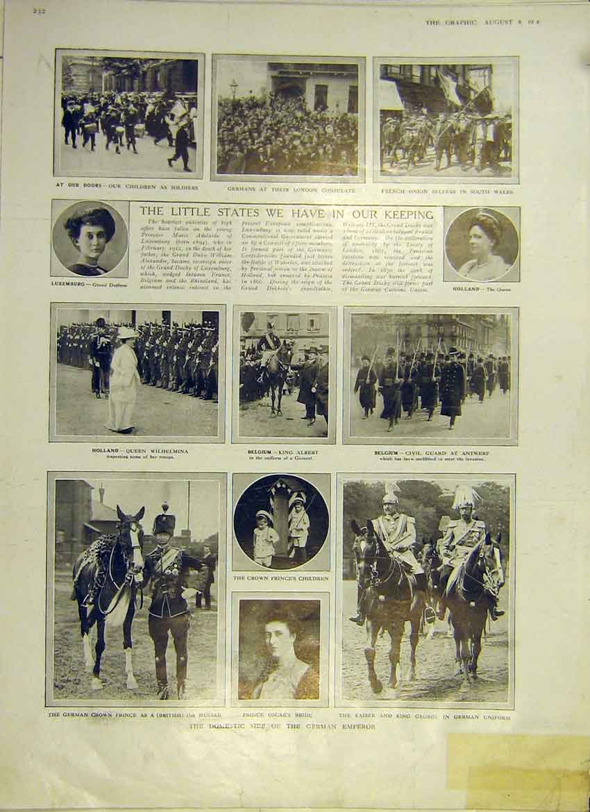 Print Ww1 British States Holland Belgium Luxemburg 1914 32Ddd1 Old Original