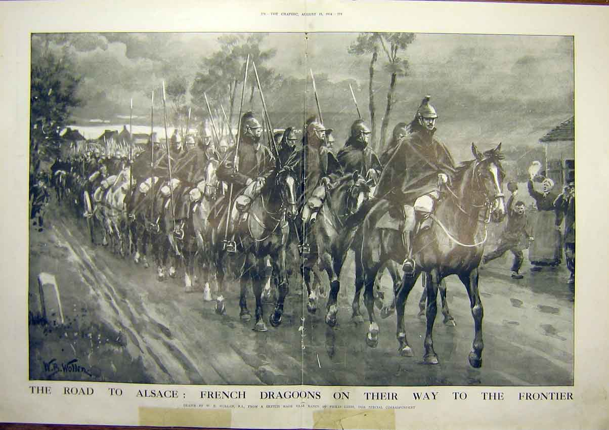 Print Ww1 Alsace French Dragoons Frontier Road Horse 1914 77Tddd1 Old Original