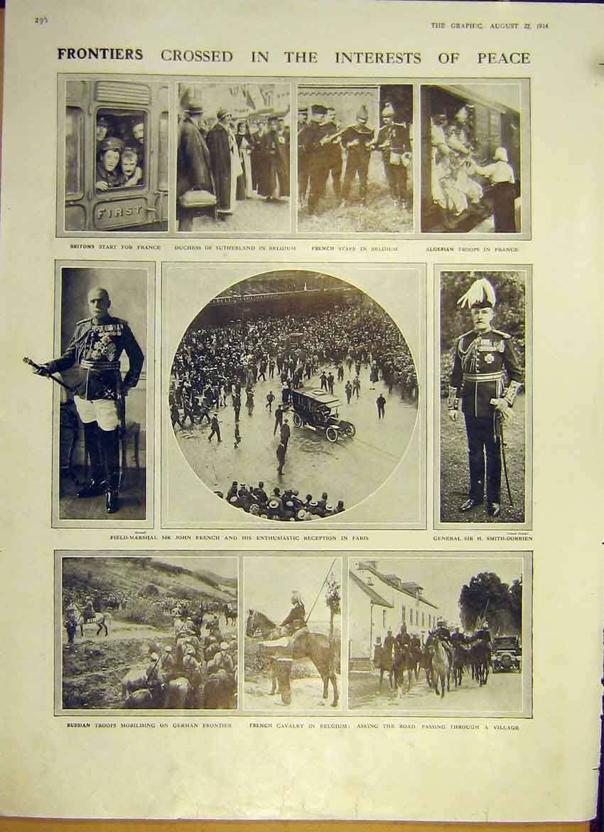 Print Frontier Belgium Paris Russian Troops Algerian Ww1 1914 96Ddd1 Old Original