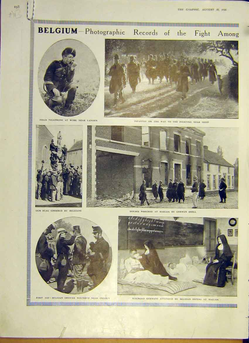 Print Ww1 Soldier Photo Record Belgium Ruin German Army 1914 98Addd1 Old Original