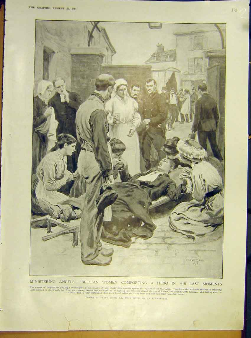 Print Ww1 Belgium Women Comforting Injured Map France 1914 15Rddd1 Old Original