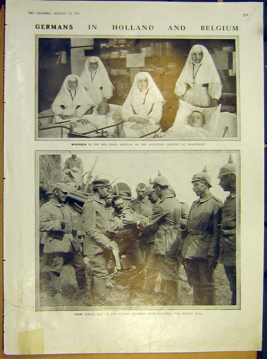 Print Ww1 German Wounded Holland Belgium Brussells 1914 31Rddd1 Old Original