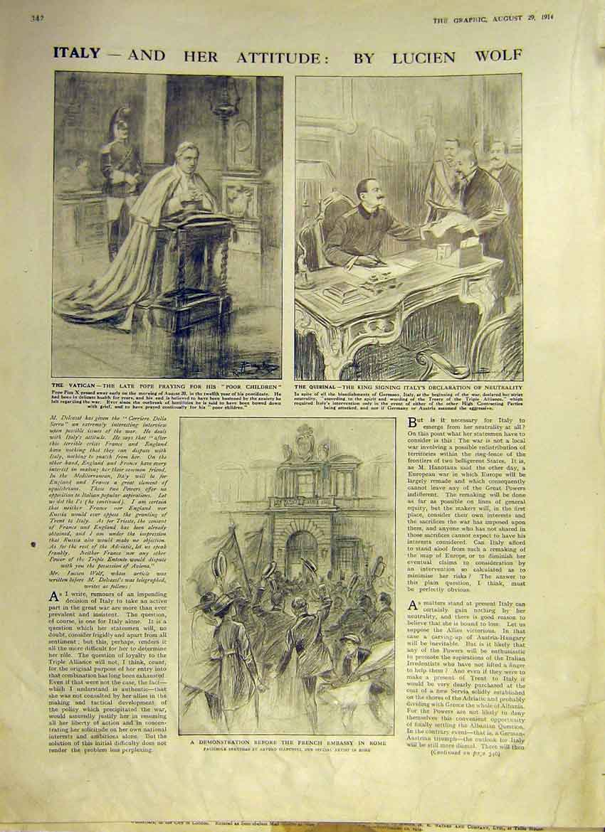 Print Italy Vatican Quirinal Rome Embassy Wolf Sketches 1914 42Ddd1 Old Original