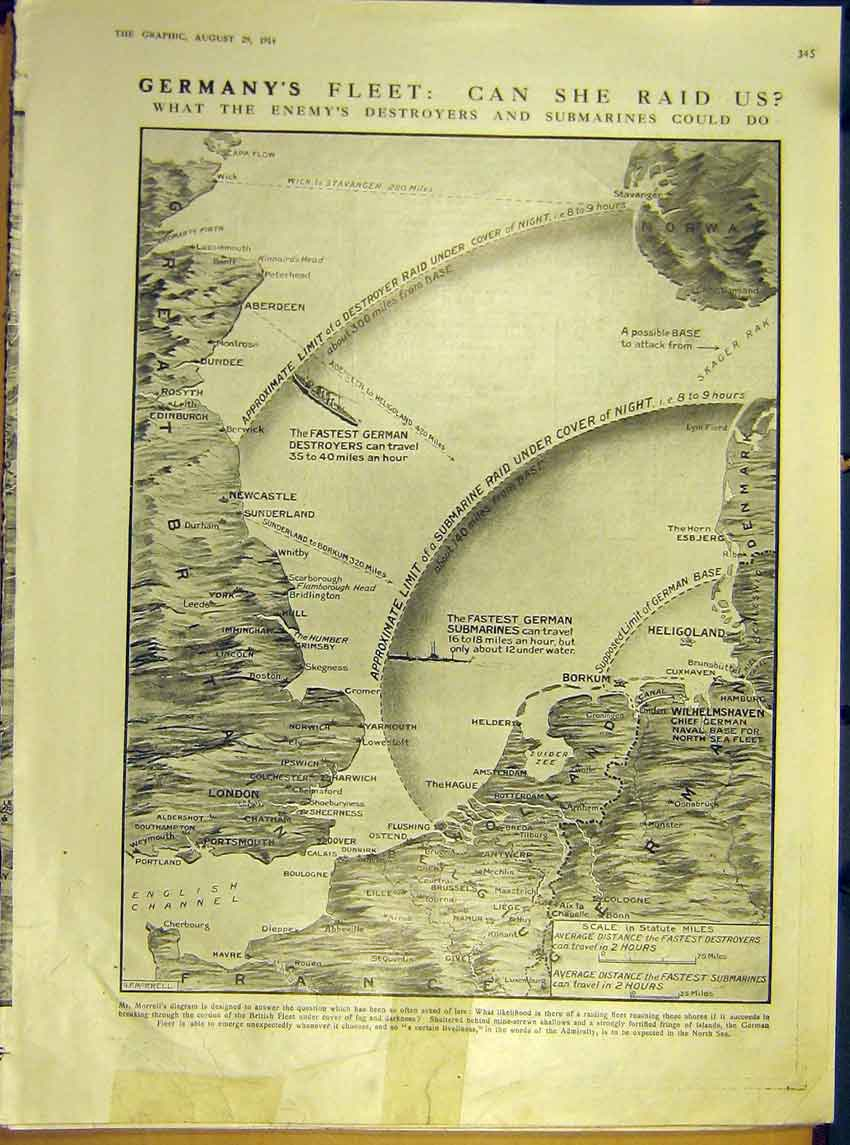 Print Ww1 Map Morrell Diagram Coast German Army English 1914 45Ddd1 Old Original