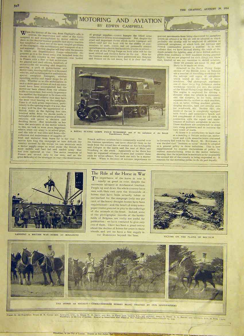 Print Ww1 Flying Corps War Horse Boulogne Belgium 1914 48Ddd1 Old Original