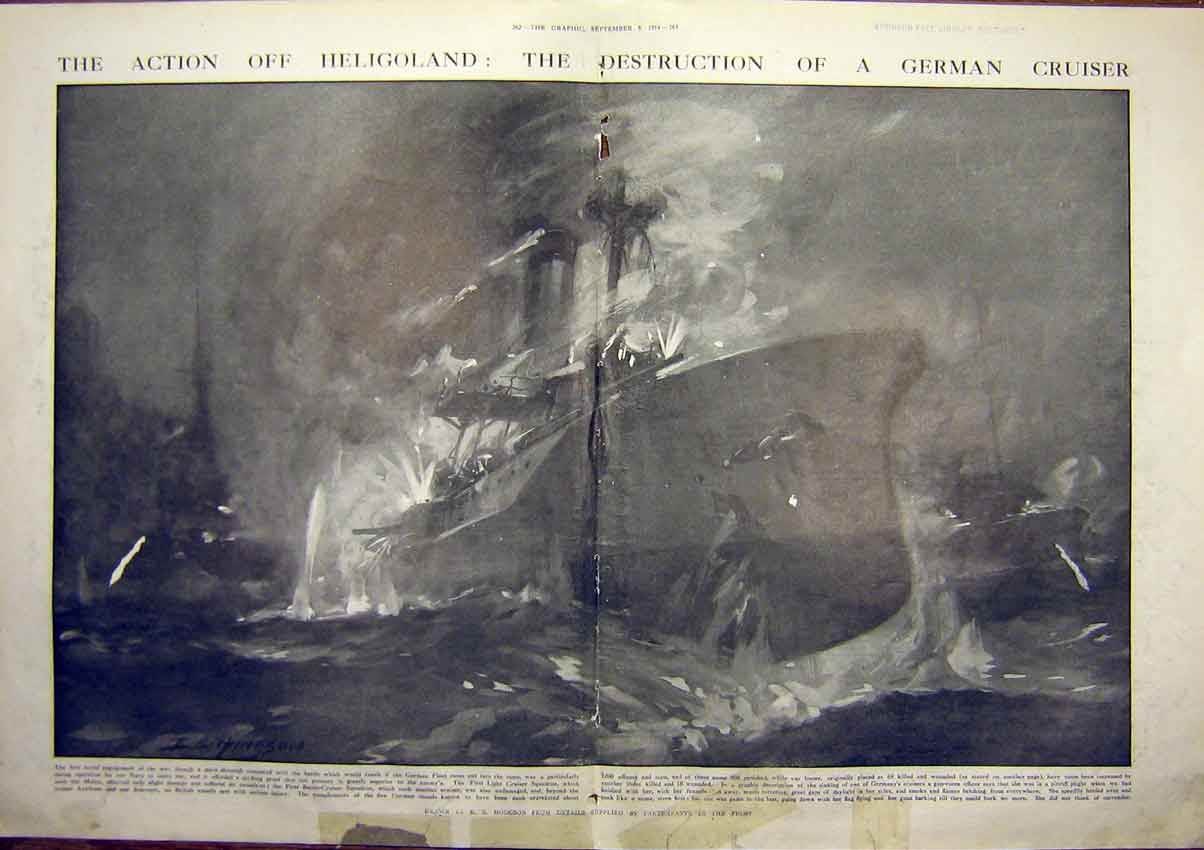 Print Ww1 Heligoland Battle Cruiser Belgium 1914 Harwich 1914 61Tddd1 Old Original