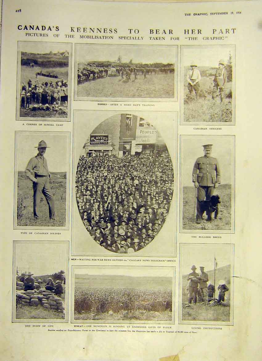 Print Ww1 Canada Mobilisation Horses Soldiers Officers 1914 28Ddd1 Old Original