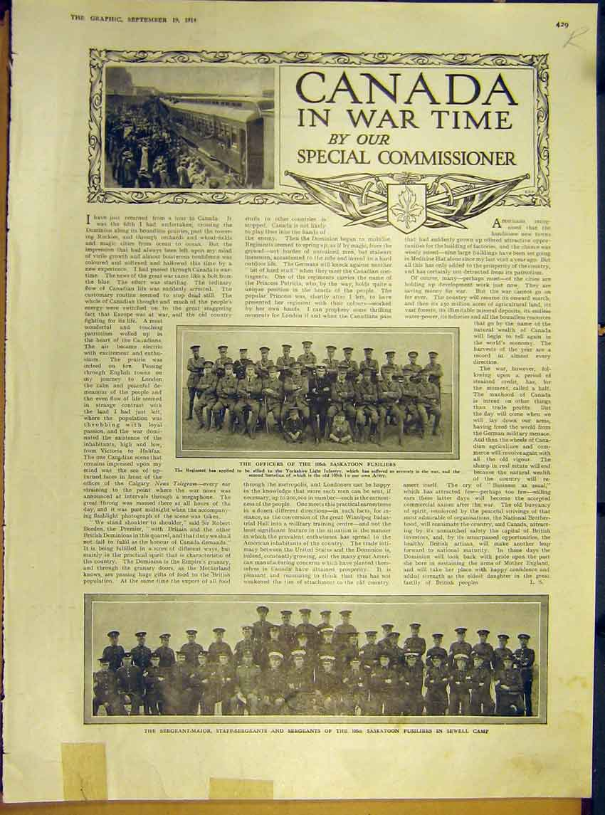 Print Ww1 Canada Officers 105Th Saskatoon Sea Mine Ship 1914 29Rddd1 Old Original