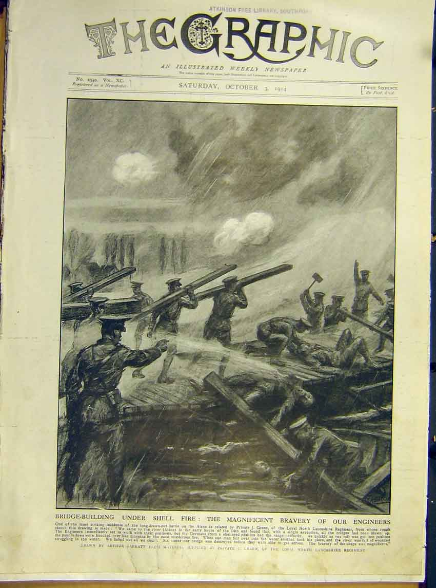 Print Ww1 Army Bridge Building Engineers Soldier 1914 70Ddd1 Old Original
