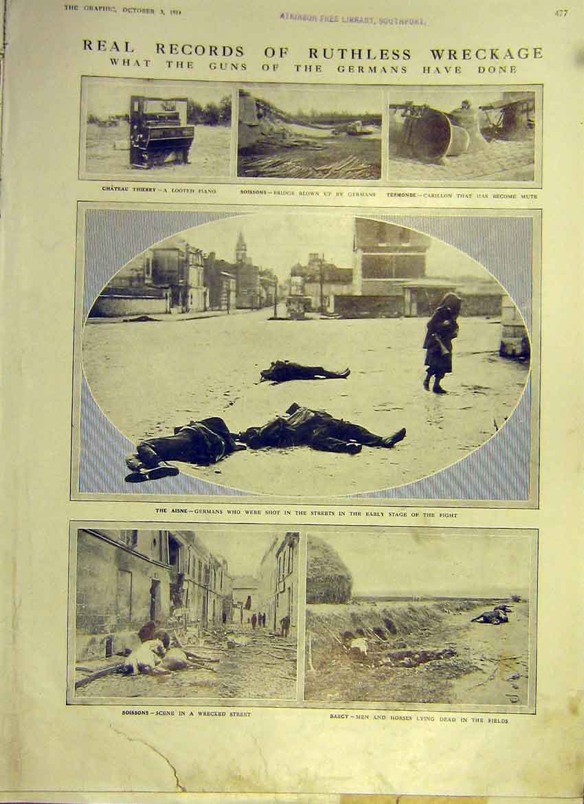 Print Ww1 German Guns Wreckage Aisne Soisson Barcy 1914 77Ddd1 Old Original