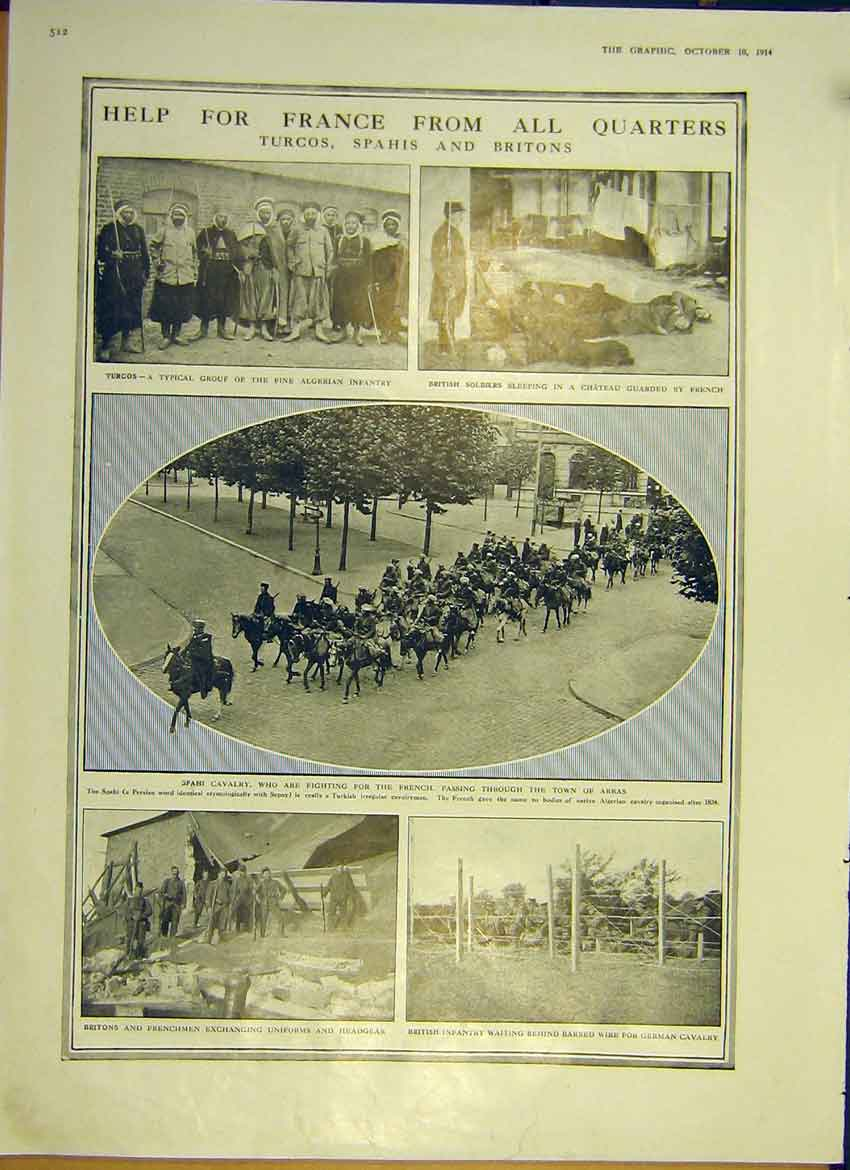 Print Ww1 France Turcos War Algerian Infantry Allies 1914 12Ddd1 Old Original