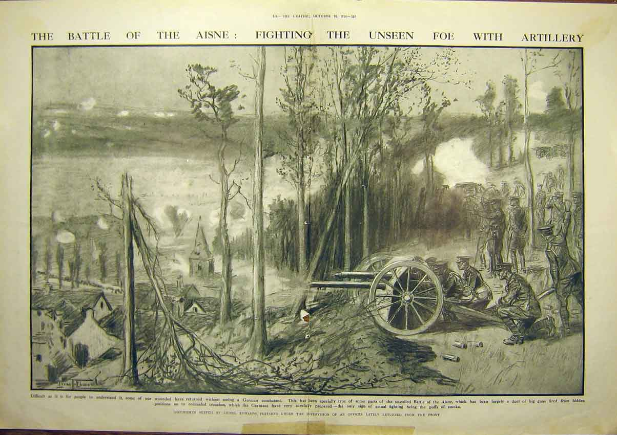 Print Ww1 Battle Aisne Artillery Guns Hills Soldier 1914 15Tddd1 Old Original