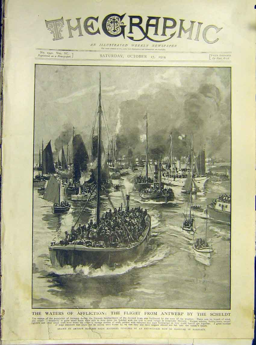 Print Ww1 Antwerp Boat Scheldt Sea Escape Flee Bomb 1914 34Ddd1 Old Original