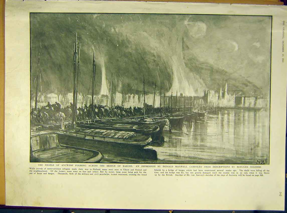Print Ww1 Antwerp Bridge Barges Fire War Refugees 1914 45Ddd1 Old Original