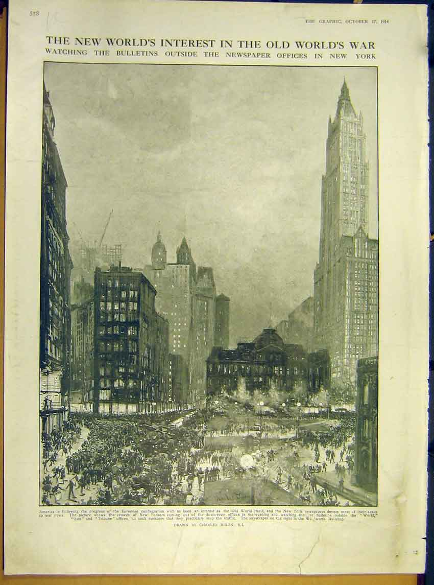 [Print Ww1 America Newspaper Offices New York S126 Ship 1914 58Rddd1 Old Original]