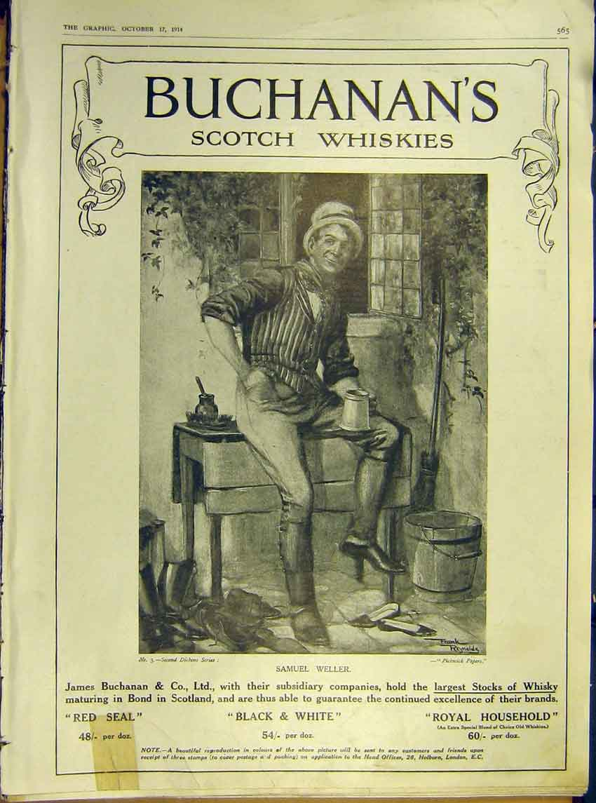 Print Advert Buchanan'S Scotch Whiskies 3 Dickens Weller 1914 65Ddd1 Old Original
