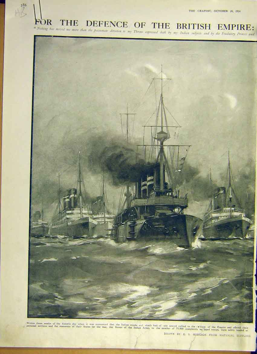 Print Ww1 Warship Fleet Defence Britain Indian Force 1914 86Addd1 Old Original