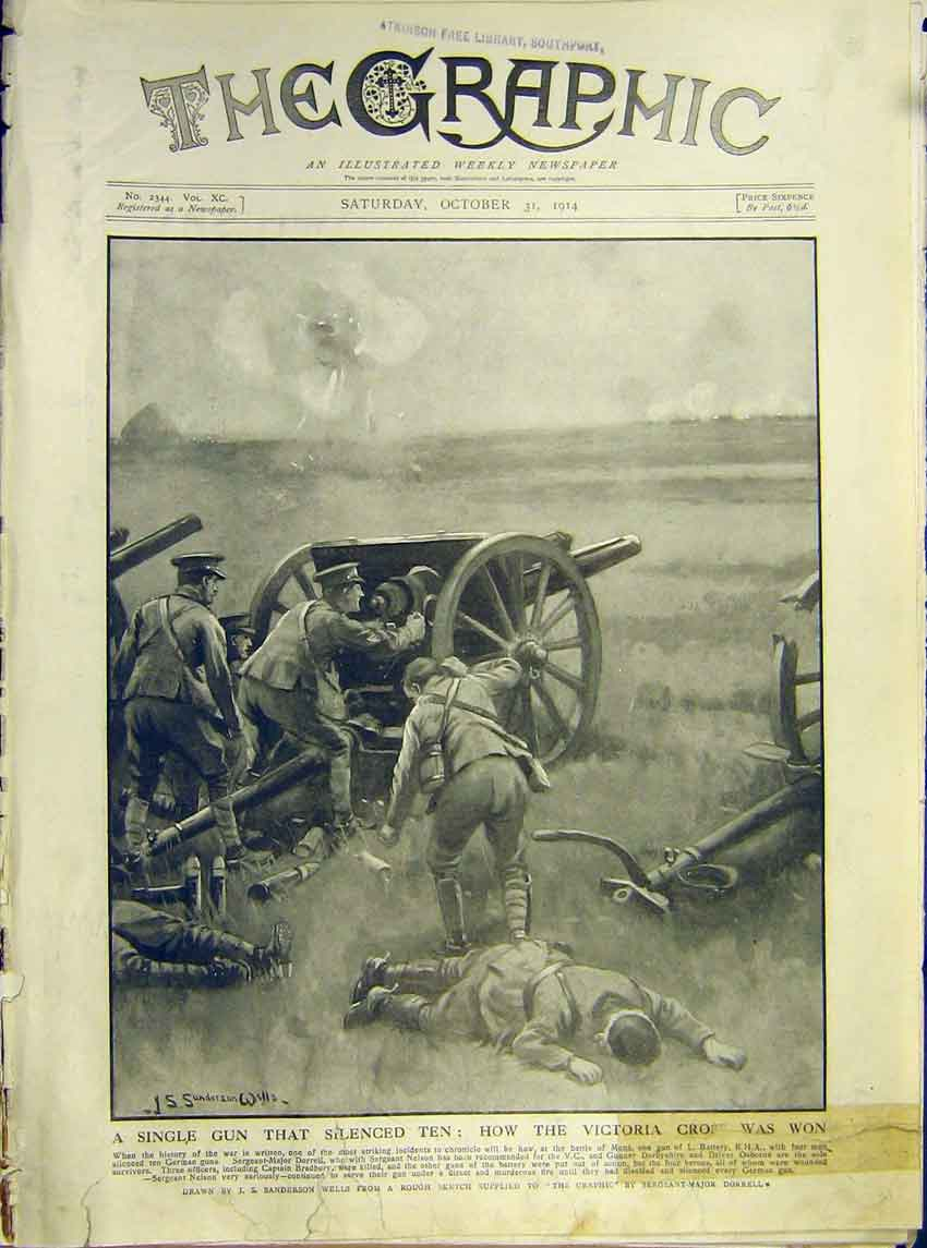 Print Ww1 Heroes Gun English V.C. Soldier Won Battle 1914 02Ddd1 Old Original
