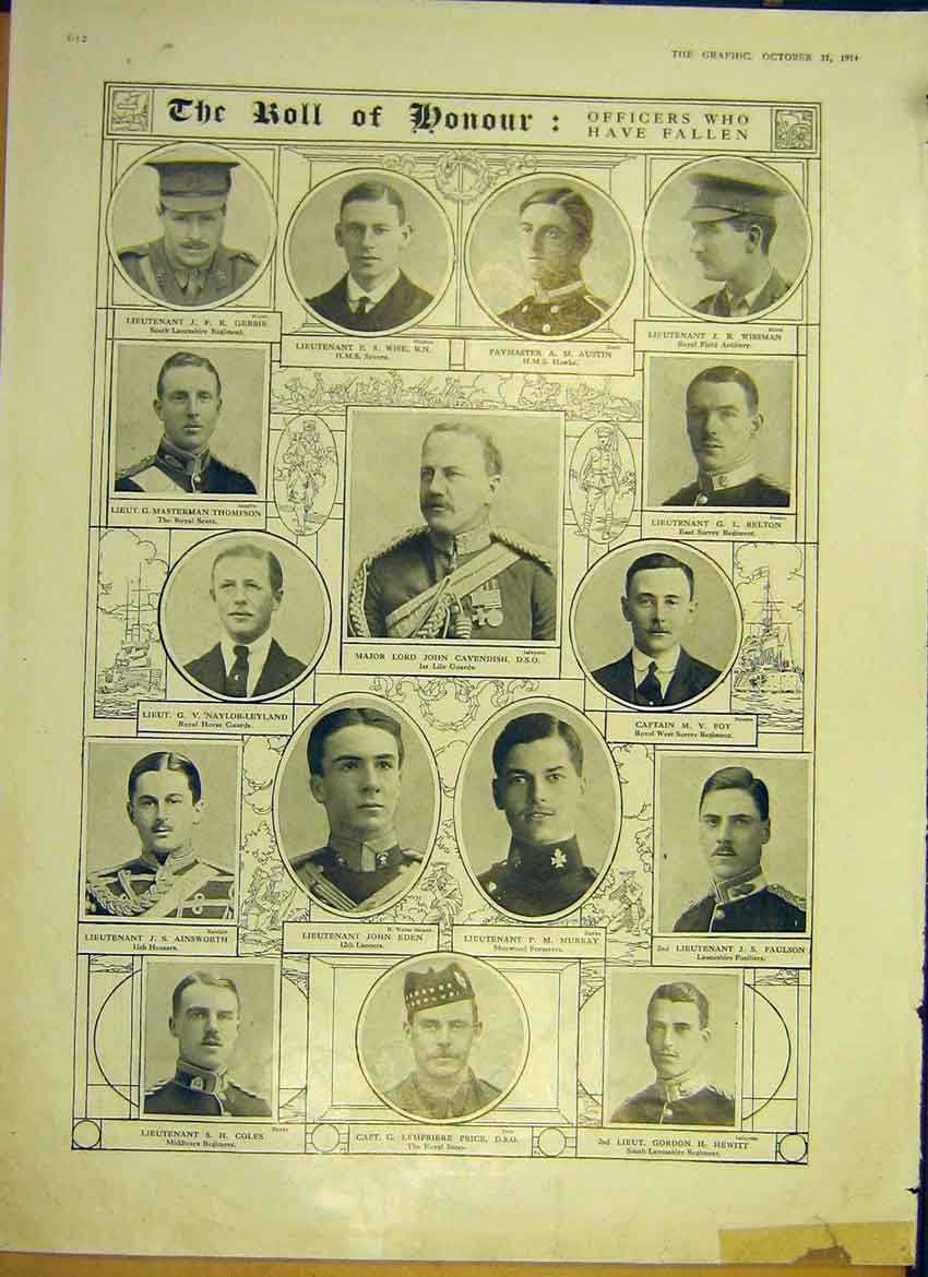 Print Ww1 War Roll Honour Officers Portraits 1914 12Ddd1 Old Original