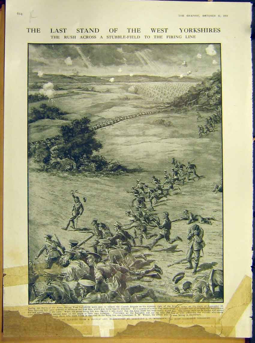 Print Ww1 West Yorkshires Soldier Coulommiers Battle 1914 14Rddd1 Old Original