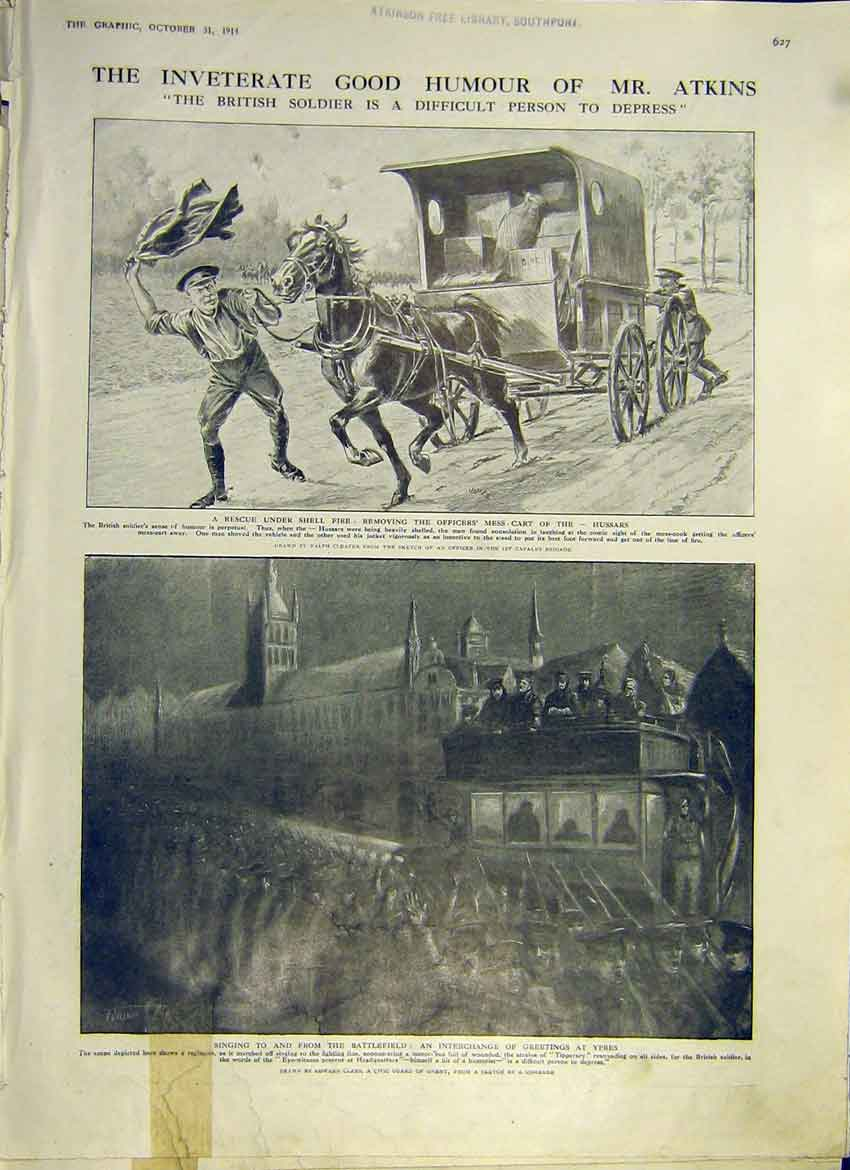 Print Ww1 Humour Atkins British Soldier Singing Ypres 1914 27Ddd1 Old Original