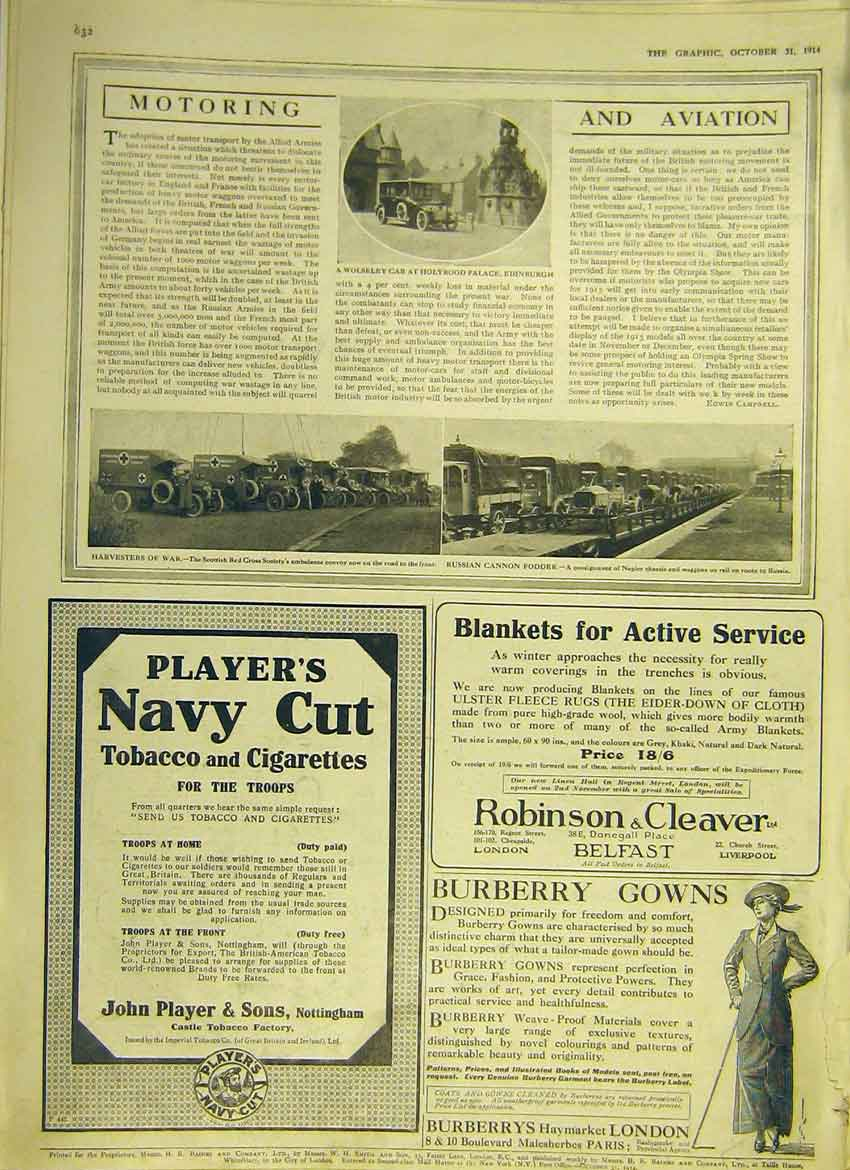 Print Motor Car Wolseley Napier Red-Cross Adverts 1914 32Ddd1 Old Original