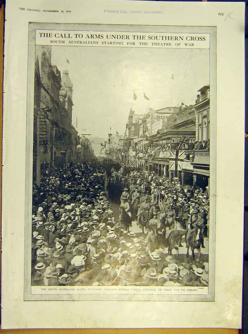 Print Ww1 Australia Quota Rundle Street Naval Ships Pacific 75Rddd1 Old Original