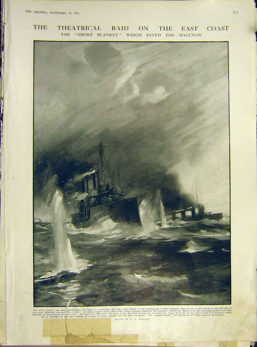 Print Ww1 Hodgson Warship Smoke-Blanket Halcyon 1914 77Ddd1 Old Original