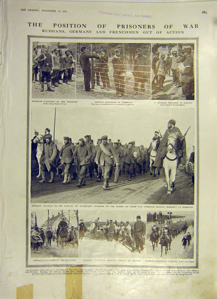 Print Ww1 Prisoners Camp Germany French Russian 1914 85Ddd1 Old Original