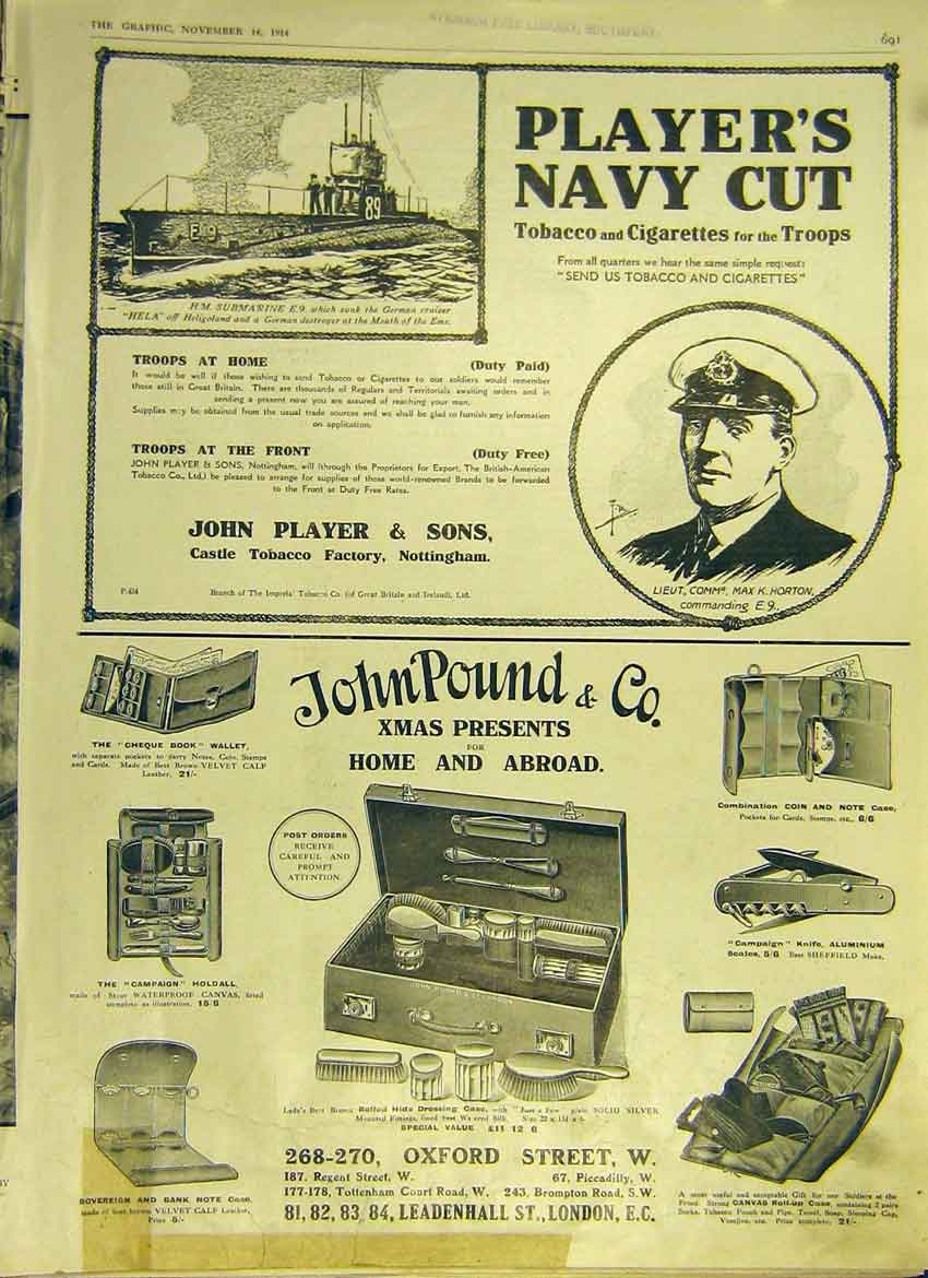 Print Adverts Ww1 Player'S Johnpound London Tobacco 1914 91Ddd1 Old Original