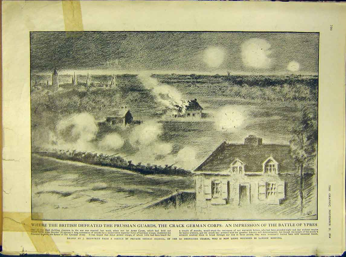 [Print Ww1 British Defeat Prussian Gaurds Ypres Battle 1914 00Ddd1 Old Original]