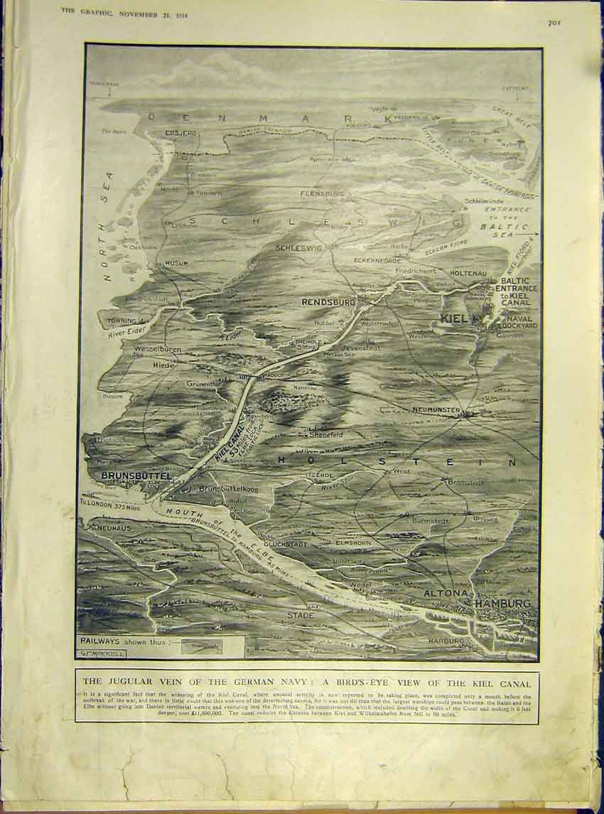 Print Ww1 Map Kiel Canal Holland Germany German Army 1914 01Ddd1 Old Original