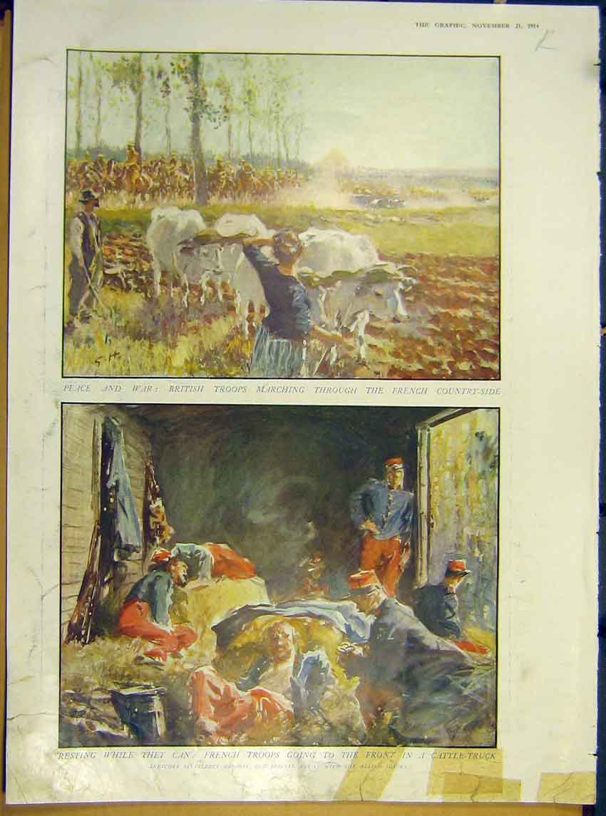 [Print Ww1 German Fireball Attack Troops Rest March Army 1914 03Rddd1 Old Original]