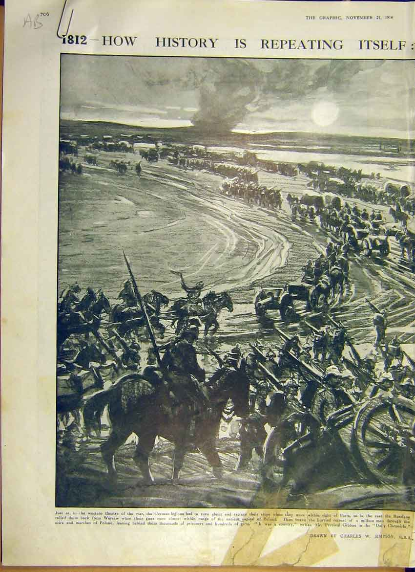[Print Ww1 Retreat Warsaw Soldier Battle German 1914 06Addd1 Old Original]