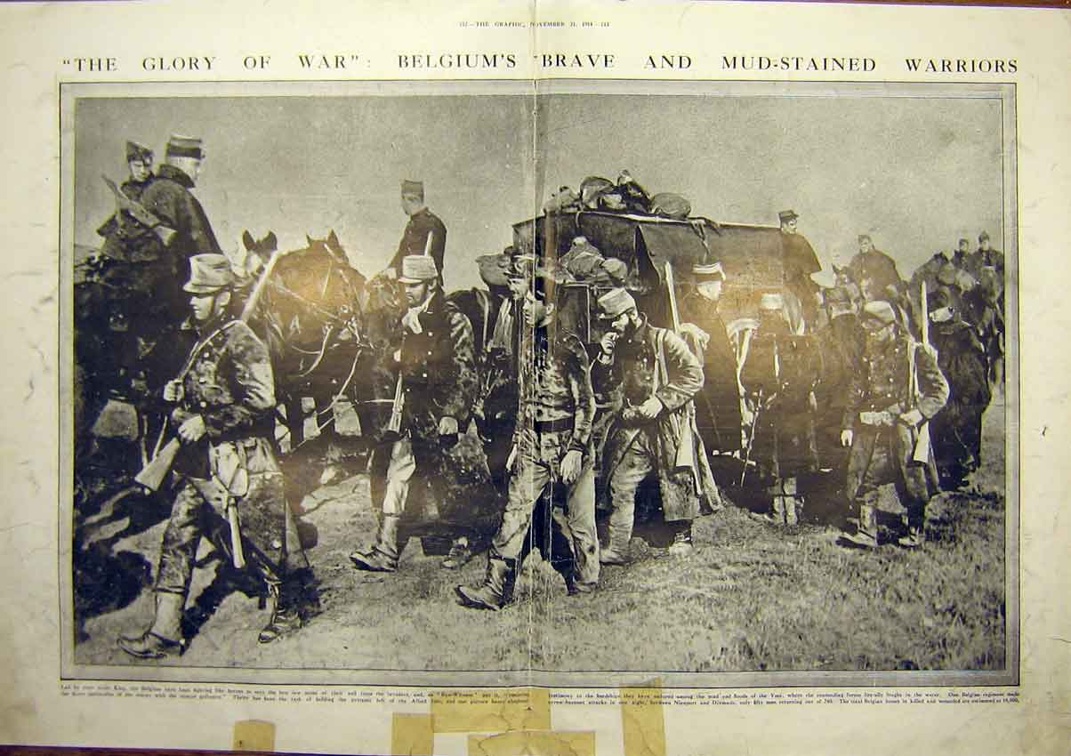 Print Ww1 Belgium Soldiers Warriors March Troops 1914 11Tddd1 Old Original