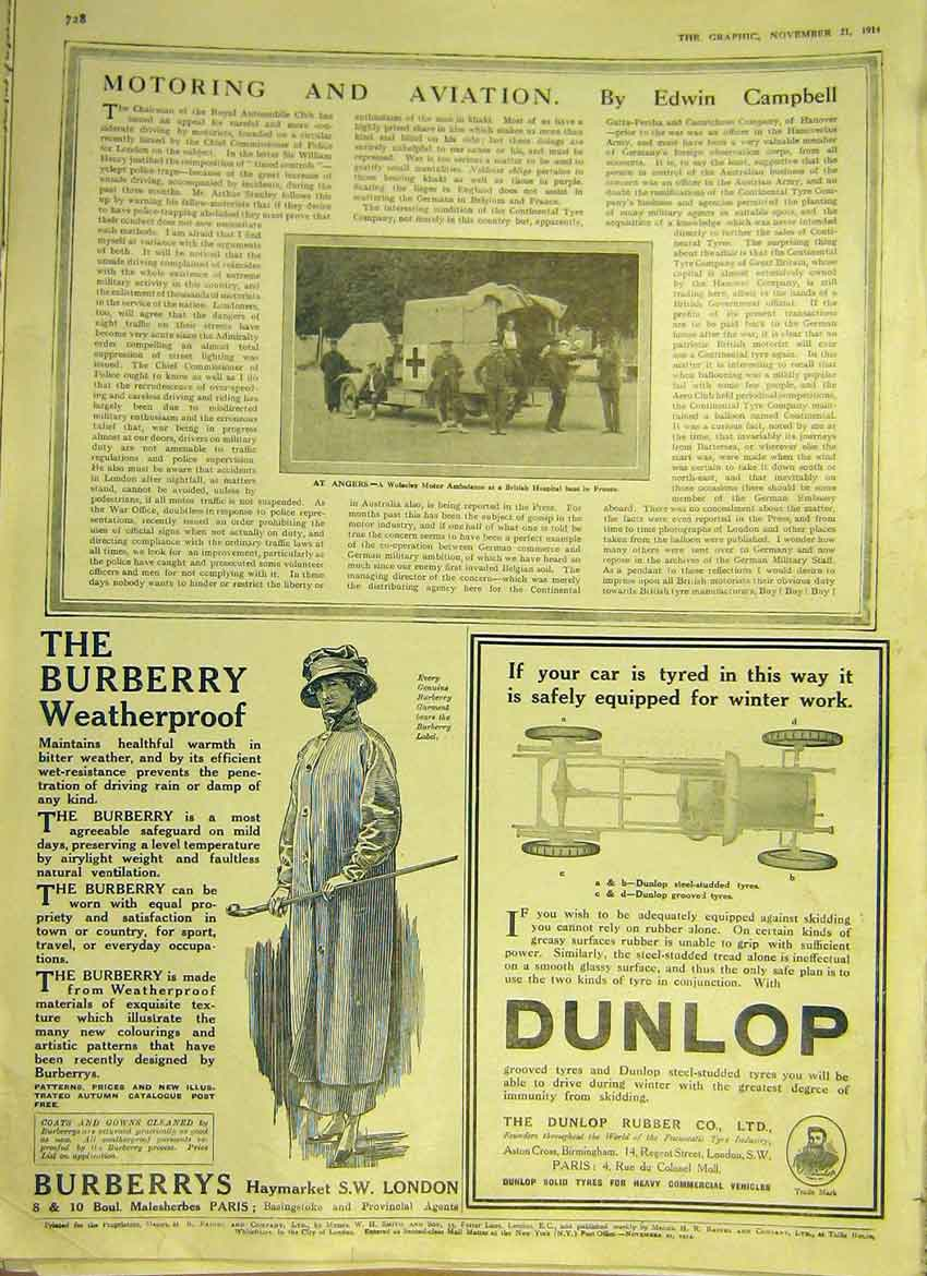 Print Motor Car Wolseley Ambulance Angers Adverts Dunlop 1914 28Ddd1 Old Original