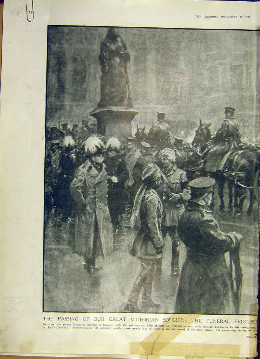 Print Ww1 Funeral Lord Roberts Soldier Procession 1914 32Addd1 Old Original