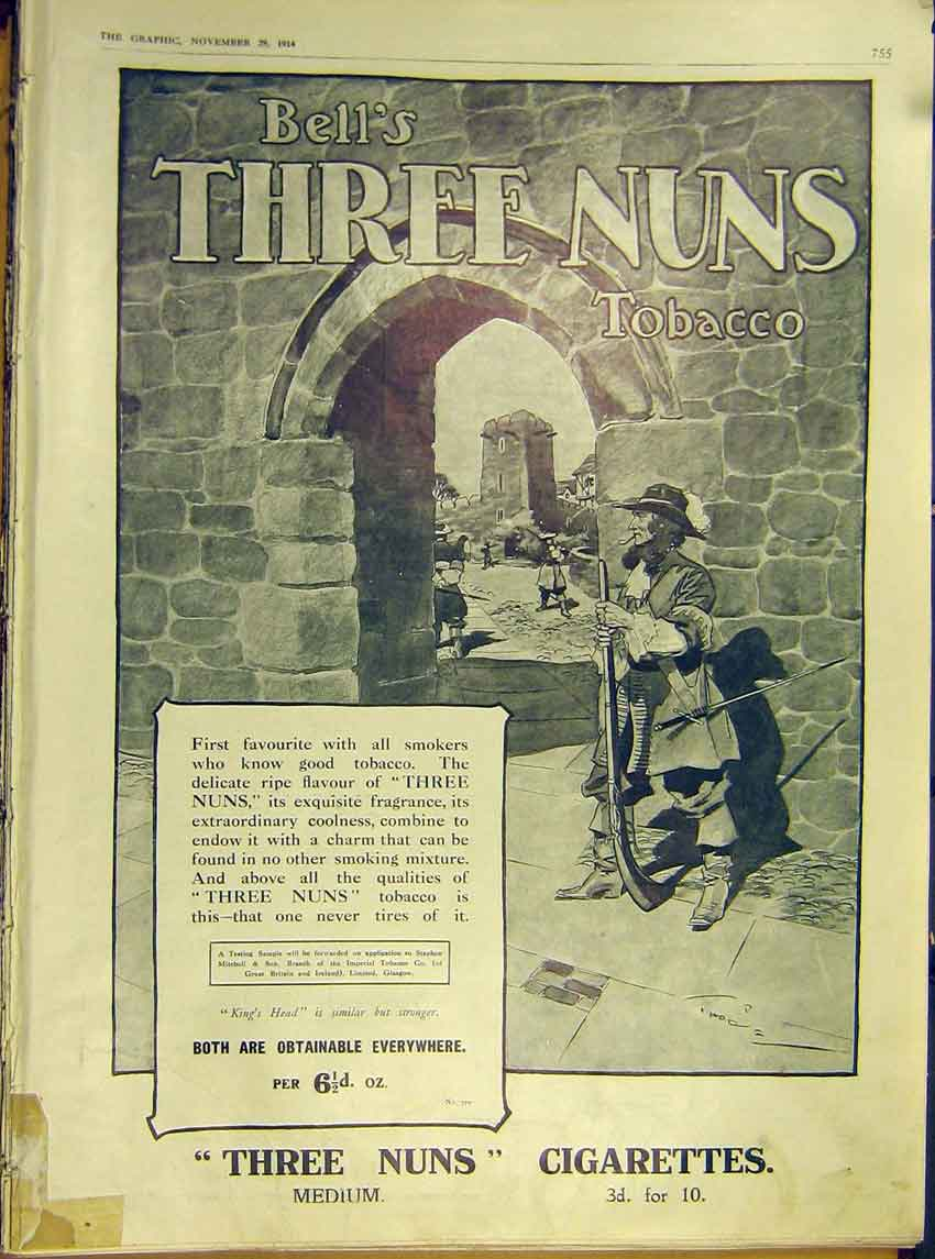 Print Advert Three Nuns Tobacco Cigarettes Bells 1914 55Ddd1 Old Original