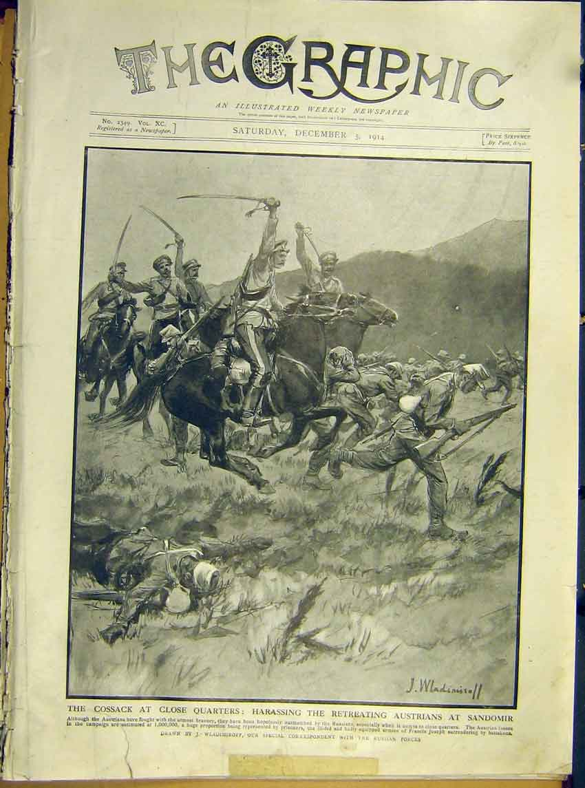 Print Ww1 Cossack Austrians Sandomir Cavalry Soldier 1914 62Ddd1 Old Original